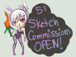 5$ Sketch Commissions OPEN! by chrecand