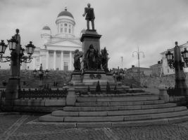 Helsinki Cathedral and Alexanderll by MissLumikki