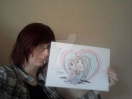 Me With My Drawing ''Cursed Doll's Love'' by LilNekoKatz