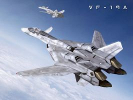 VF-19A in Flight by Zinjo