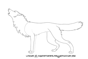Free Howling Wolf Lineart by lucidcoyote