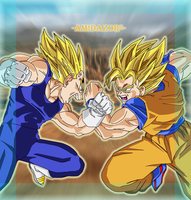 Goku vs  Majin Vegeta by Amidazoro