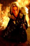 Sephiroth in Flames by ElektraSaintClaire
