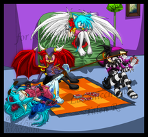 :Com: Four Girls Playing Cards by FireWithinMidnight