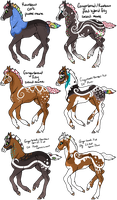 Gingerbread x Rainbow Pied Foals by gyngercookie