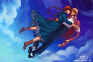 Howl and Sophie - Dancing on Clouds by Qinni