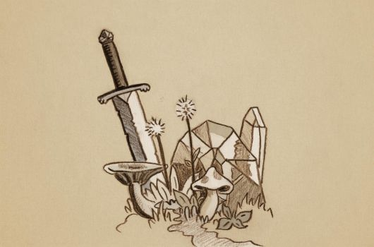 Crystal with Sword and mushrooms by SamBennett