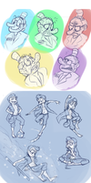Expression / pose roughs by G-3-n-o