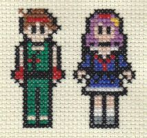 X-Stitch Kensou and Athena by missy-tannenbaum