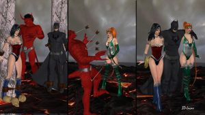 Diana, Bruce and Artemis in Hell by 3d-lucas