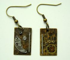 steampunk sun and moon earring by TimelessCharm