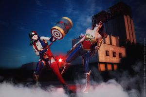 cosplay Wonder Woman VS/ Harley Quinn injustice by Nemu013