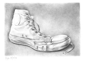 old school shoe in ballboint by vigh-attila