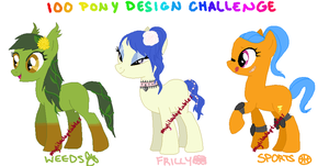 MLP- 100 Pony Design Challenge #10-12 - CLOSED by MyLilAdoptables