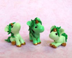 Green Baby Unicorns by DragonsAndBeasties