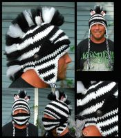 Zebra Mohawk Helm by TheCrochetDragon