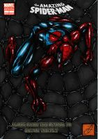 spiderman web pose comic cover colour by darkartistdomain