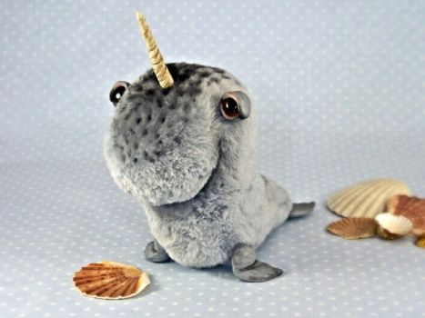 Great Narwhal, OOAK art toy by entala