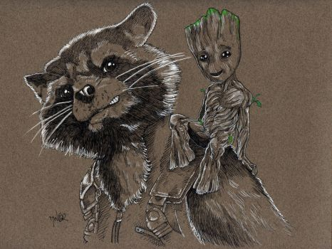 Rocket and Groot by Jerantino