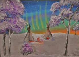 Two Tipis Under the Northern Lights by Marybriannemckay