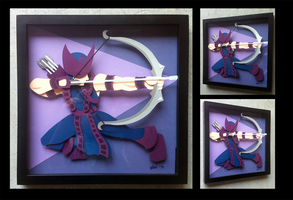Commission: Classic Hawkeye Shadowbox by The-Paper-Pony