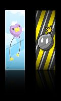 Drifloon and Bomb Bookmarks by snow--skitty
