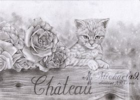 Kitty and roses by Michaela9