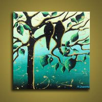 Bird Painting Whimsical Tree by hjmart