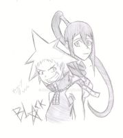 Black star and Tsubaki by idolnya