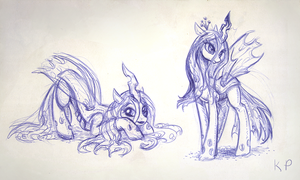 Chrysalis Sketches by KP-ShadowSquirrel
