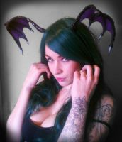 Realistic Morrigan Aensland Head Wings by Selkie33