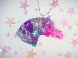 Marbled Pink Galaxy Horse Necklace by Ethereal-Beings