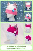 Button Cat Hat White and Pink by cutekick