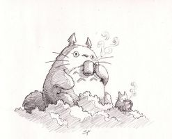 Coffee with Totoro by sydniart