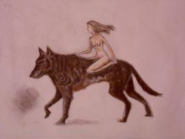 girl on wolf by vladrozgozo