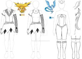 Zapdos and Articuno Design by Brodys-Babe