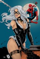 Spiderman Black Cat Colored by Terrie Dobiesz by NewEraStudios