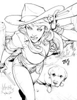 $25 Sketch-- Cowgirl by TV-TonyVargas