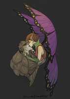 Bog and his Ferocious Purple Winged Angel by WoodsOfOld