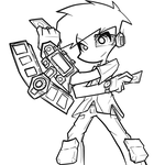 Yugioh Player Lineart by clone1542