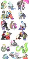 Sketch Dump 29: (Simplified Monster High Couples) by tayba