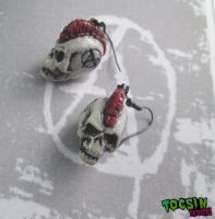 Punk Rock Skull earrings by TocsinDesigns