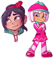 Vanellope and Taffyta by strawberryneko33