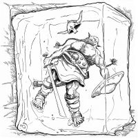Orc in a Cube of goo by pictishscout
