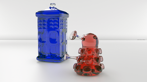 Blue Glass TARDIS and Red Glass Dalek by TheBigDaveC