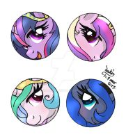 MLP FIM - Princesses Buttons by Joakaha