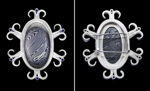 Damascus and Sapphire Brooch by CountMagnus