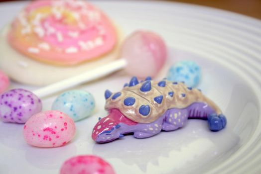 Blueberry Cheesecake Ankylosaurus Figurine by MiniMynagerie