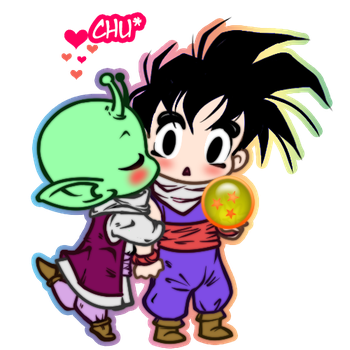 Dende and Gohan 'A Hero's Kiss' by JasmineAlexandra