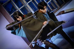 Rivaille and Mikasa by fausto-The-Endless